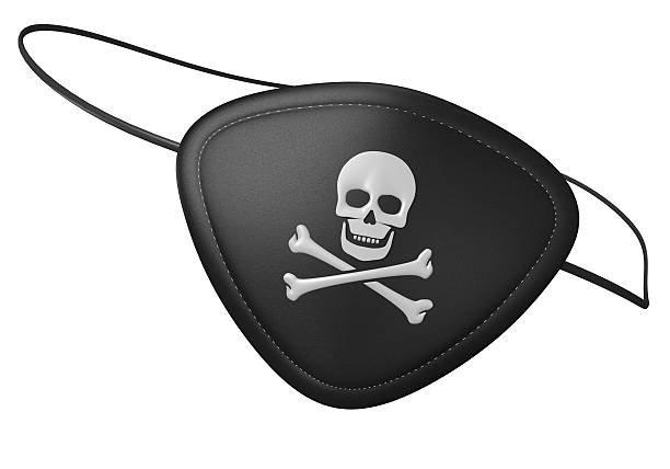 Black leather pirate eyepatch with a scary skull and crossbones 3D render of a black leather pirate eyepatch with a human skull and crossbones symbol. pirate criminal stock pictures, royalty-free photos & images