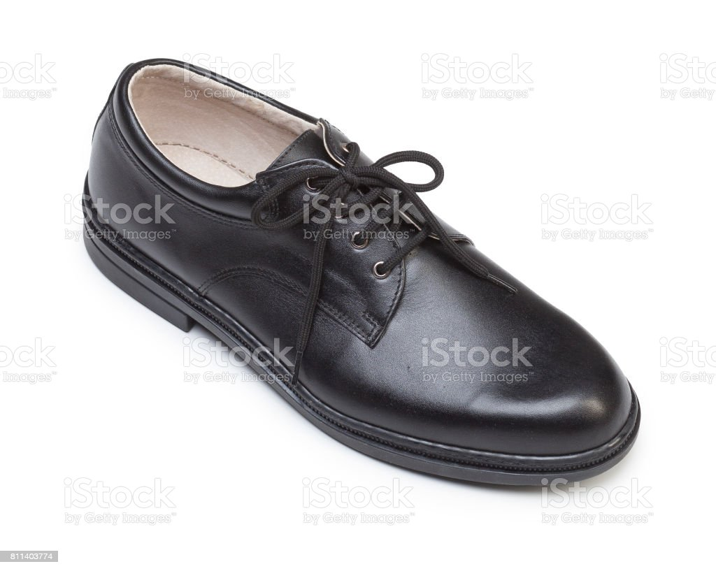 Black leather protective shoes isolated on white stock photo