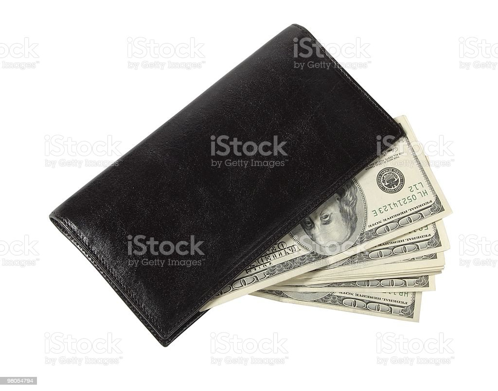 Black leather purse and dollars royalty-free stock photo