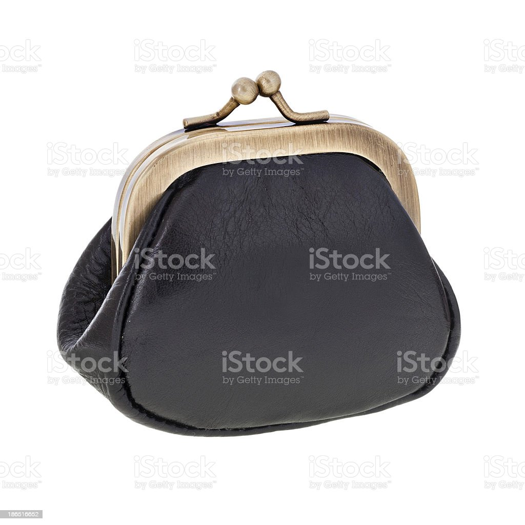 Black leather purse royalty-free stock photo