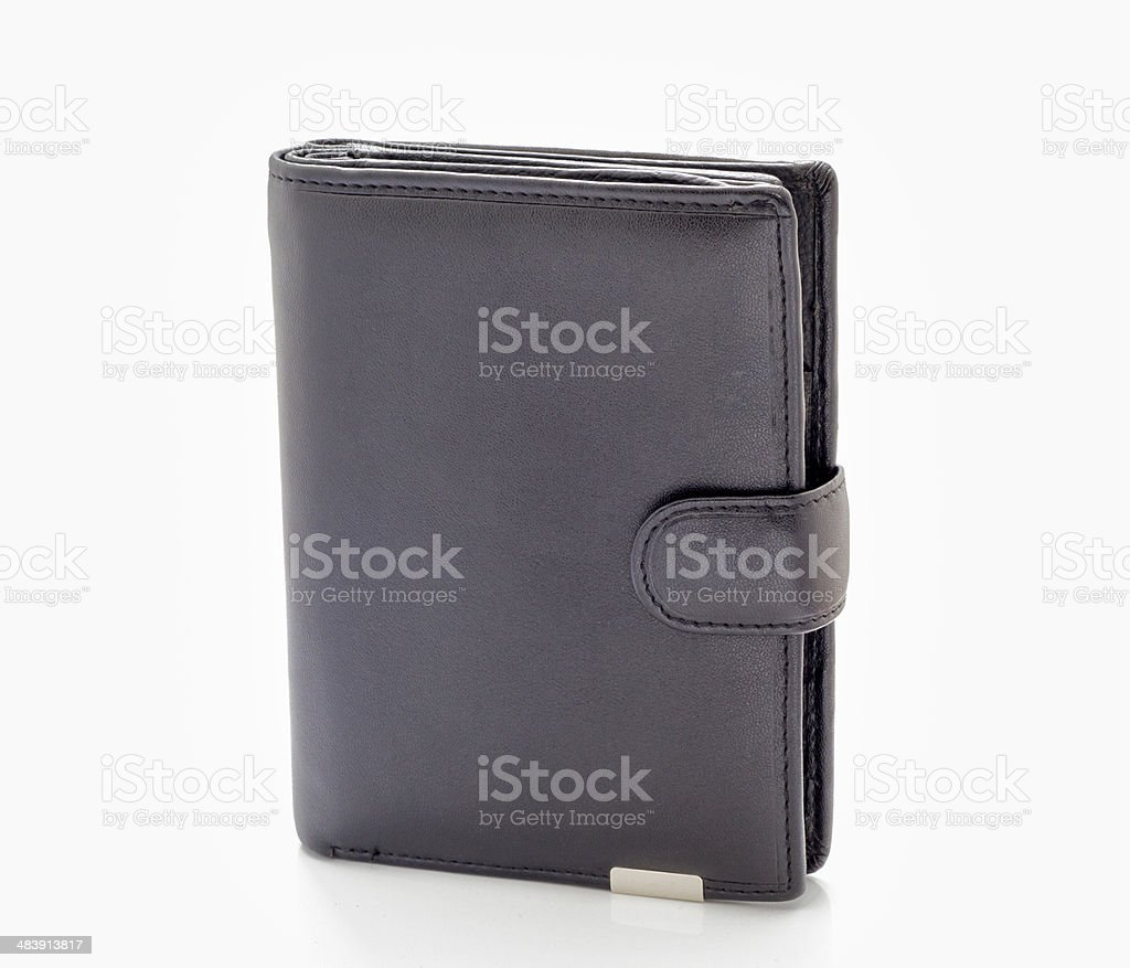 Black leather purse. royalty-free stock photo