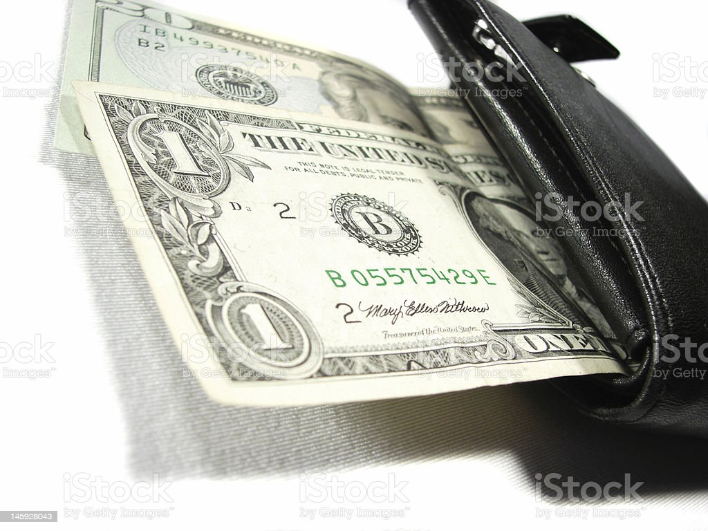 Black leather purse with paper money dollars one twenty stock photo