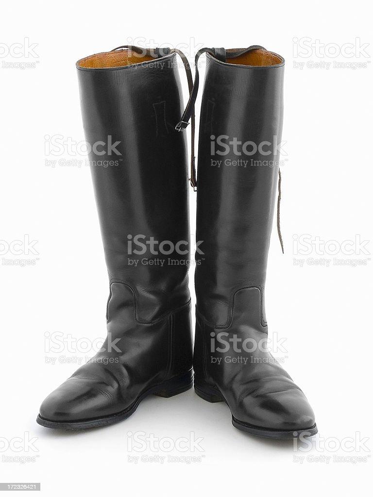 Botas De Montar De Cuero Negro Sobre Blanco Foto de stock y