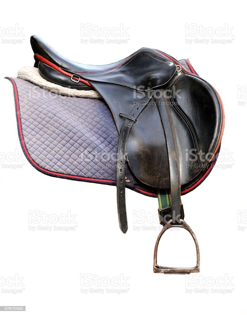 Black leather saddle isolated on white stock photo
