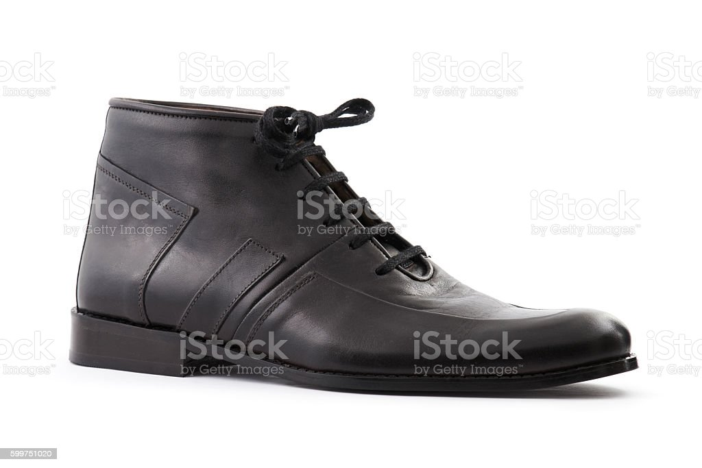 Black leather shoe on white stock photo