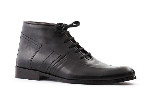 Black leather shoe on white stock photo
