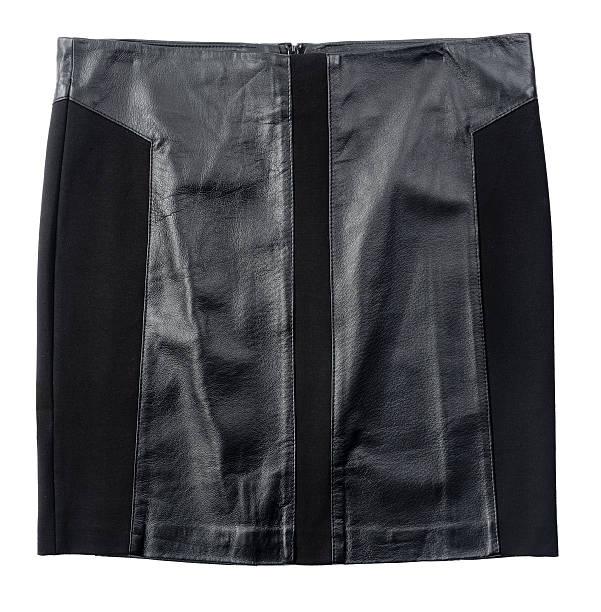 Black leather skirt isolated on white stock photo