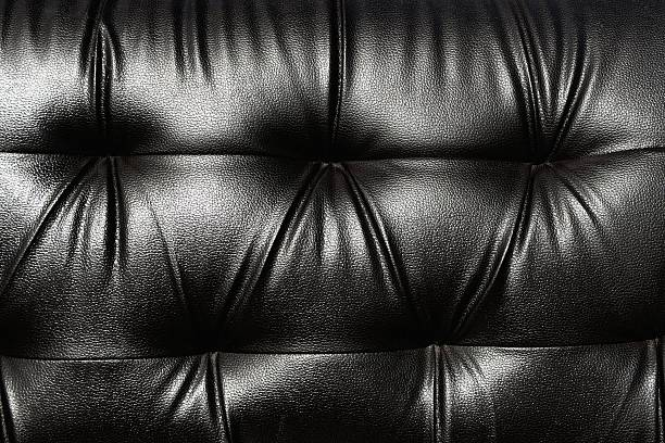 Black leather sofa stock photo
