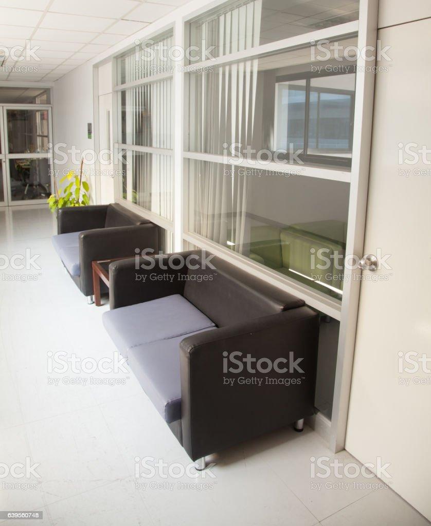Black leather sofa stock photo