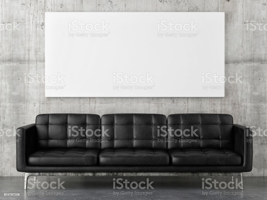 Black leather sofa with horizontal mock up poster, concrete wall background stock photo