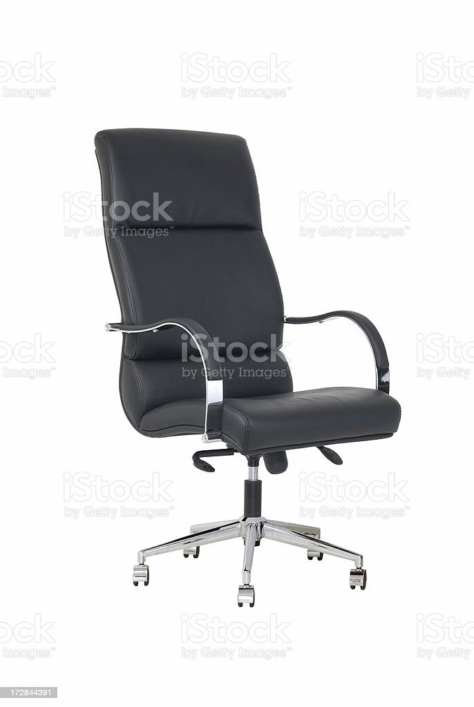 Black leather, swivel office chair royalty-free stock photo
