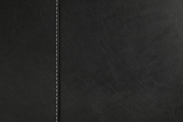 black leather texture - seam stock photos and pictures
