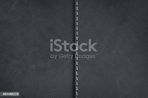 istock Black leather texture with seam 484468226