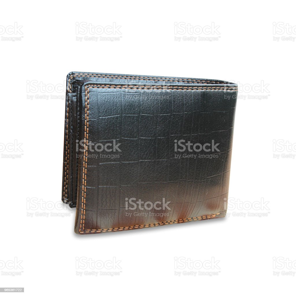 Black Leather Wallet on white background texture royalty-free stock photo