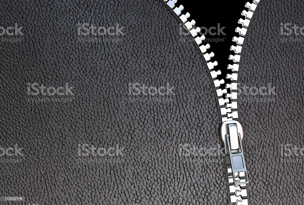 black leather zip stock photo