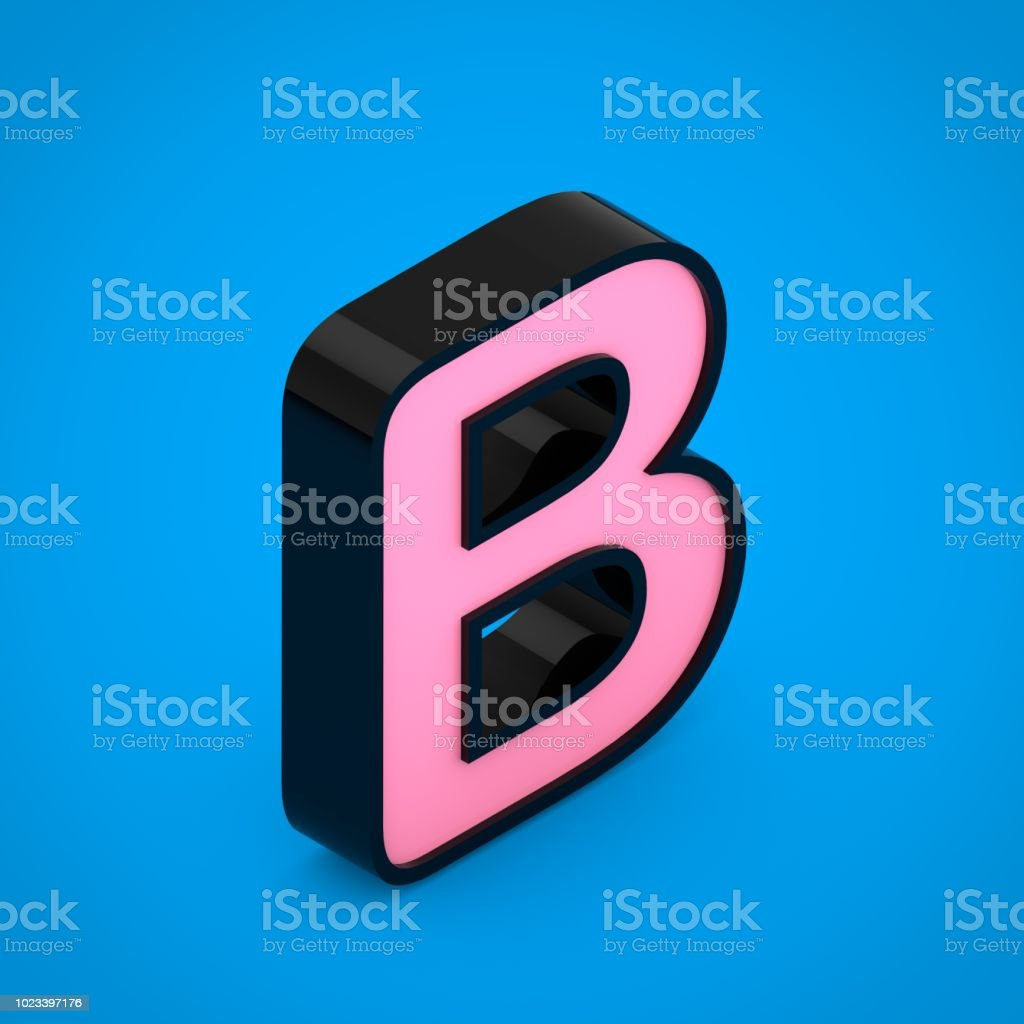 Black Letter B Uppercase With Pink Neon Light Isolated On