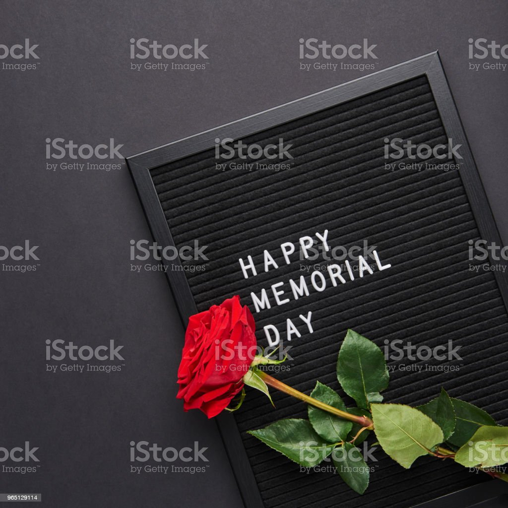 Black letterboard with white plastic letters with quote: Happy Memorial Day royalty-free stock photo