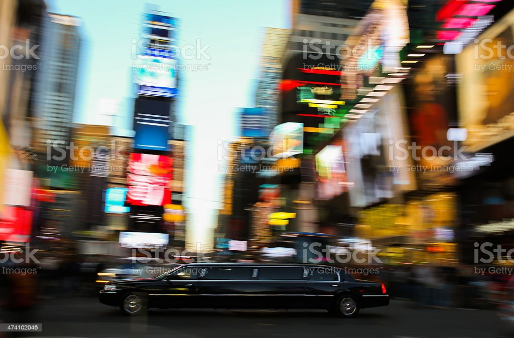 Black Limousine New York City Manhattan Time Square night stock photo