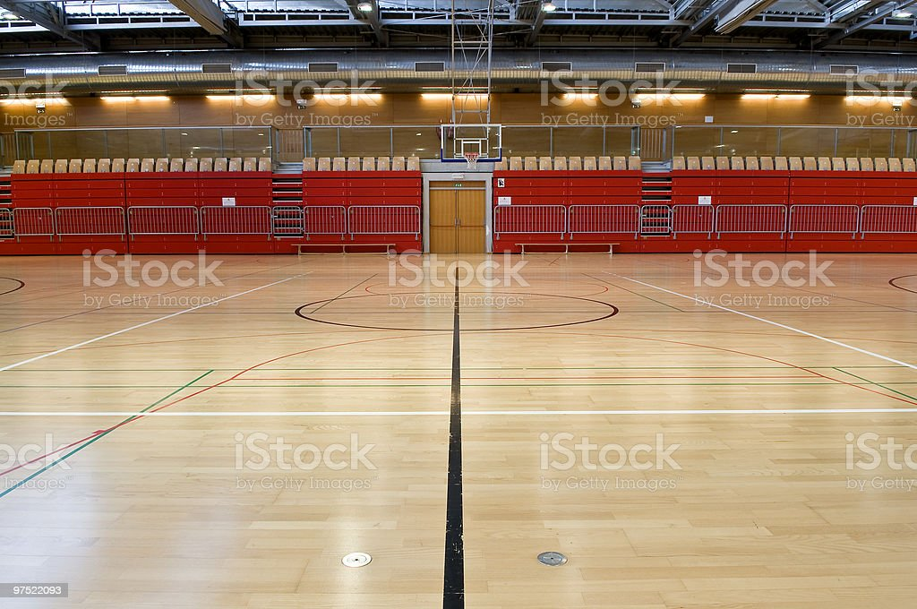 Black Line in Empty Red Sports Hall royalty-free stock photo