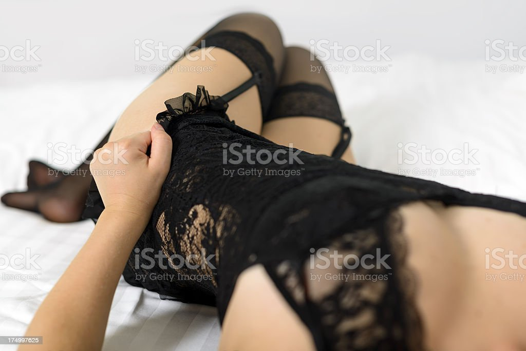black lingerie stock photo