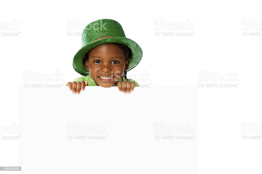Black Little Boy Holding Blank Sign Green Hat stock photo