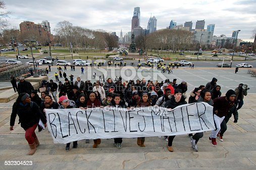 Philadelphia, PA, USA - December 12, 2014; Temple University students march up the 'Rocky Steps' at the Philadelphia Museum of Art on the Benjamin Franklin Parkway in Philadelphia, PA during a 'Black Lives Mater' protest march. (photo by Bas Slabbers)