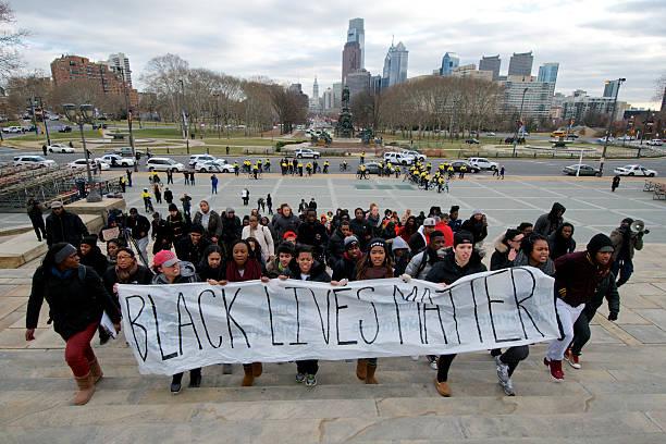 'Black Lives Mater' protest in Philadelphia, PA stock photo