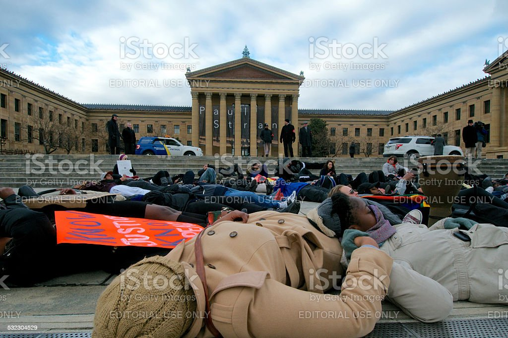 'Black Lives Mater' protest in Philadelphia, PA stock photo
