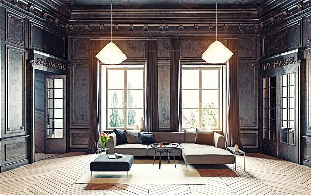 Noir salle de séjour - Photo
