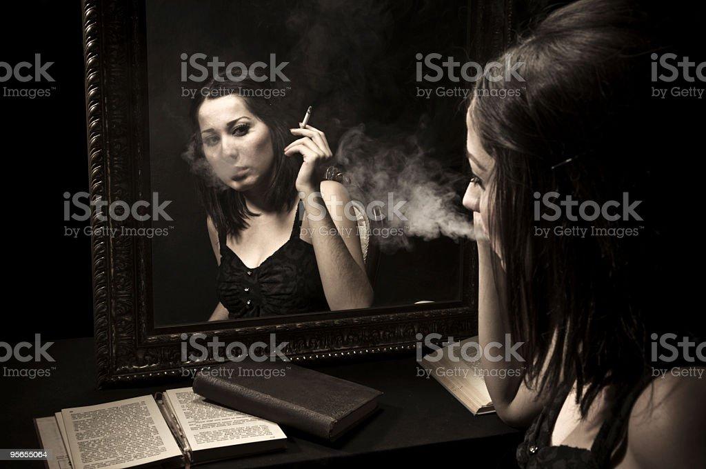 Black Einsamkeit - Lizenzfrei Attraktive Frau Stock-Foto