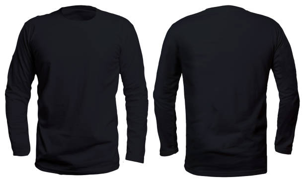Black Long Sleeve Shirt Mock up Blank long sleve shirt mock up template, front and back, isolated on white, plain black t-shirt mockup. Long sleeved tee design presentation for print. black shirt stock pictures, royalty-free photos & images