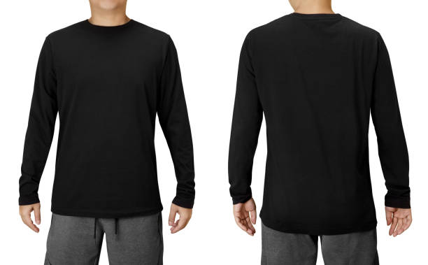Black Long Sleeved Shirt Design Template isolated on white with clipping path Black Long Sleeved Shirt Design Template isolated on white with clipping path long sleeved stock pictures, royalty-free photos & images