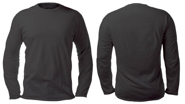 Black Long Sleeved Shirt Design Template Blank long sleeved shirt mock up template, front and back view, isolated on white, plain black t-shirt mockup. Tee sweater sweatshirt design presentation for print. long sleeved stock pictures, royalty-free photos & images