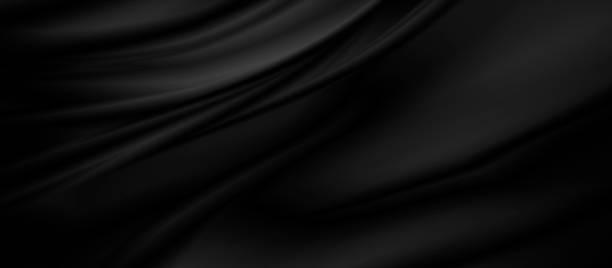 black luxury fabric background with copy space - seda imagens e fotografias de stock