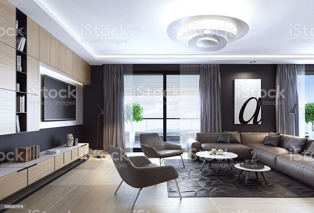 Black Luxury Living Room Interior With Leather Sofa And TV ロイヤリティフリーストックフォト