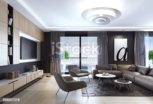 istock Black luxury living room interior with leather sofa and TV 598557078