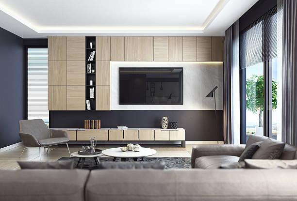 black luxury living room interior with leather sofa and tv - zimmer bildschirm stock-fotos und bilder