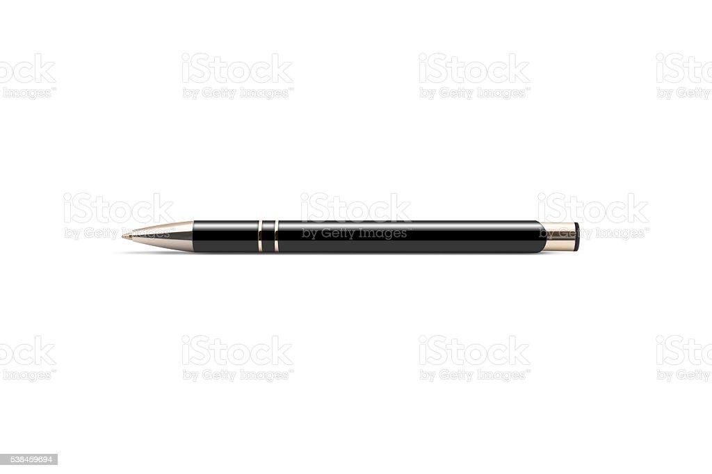 Black luxury pen mockup isolated on a white background. stock photo