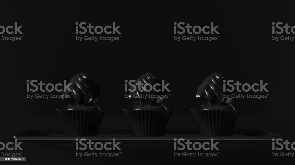 3 Black Luxury Small Muffin Cakes 3d illustration 3d render