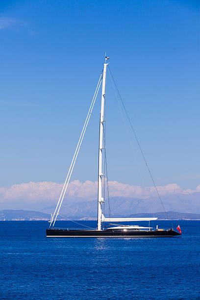 Black luxury yacht stock photo
