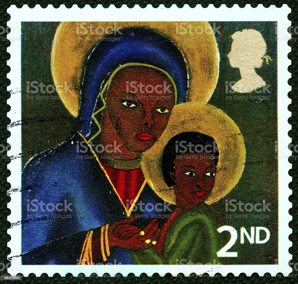 Black Madonna with Jesus child on Australian stamp royalty-free stock photo