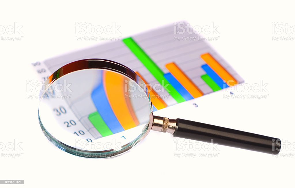 Black magnifying glass magnifying a bar graph  royalty-free stock photo