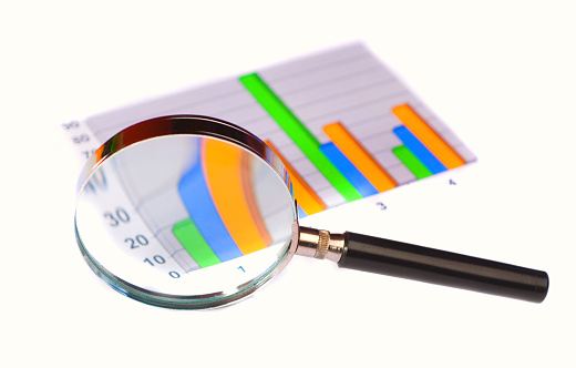 897644798 istock photo Black magnifying glass magnifying a bar graph  182371021