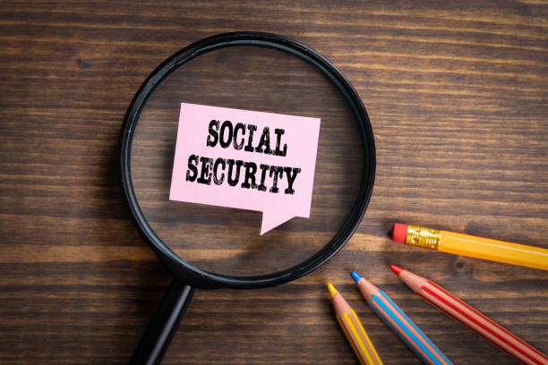 SOCIAL SECURITY. Black magnifying glass, speech bubble and colored pencils stock photo