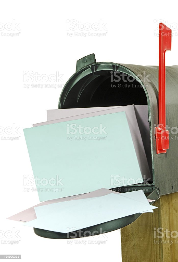 Black Mailbox with Envelopes stock photo