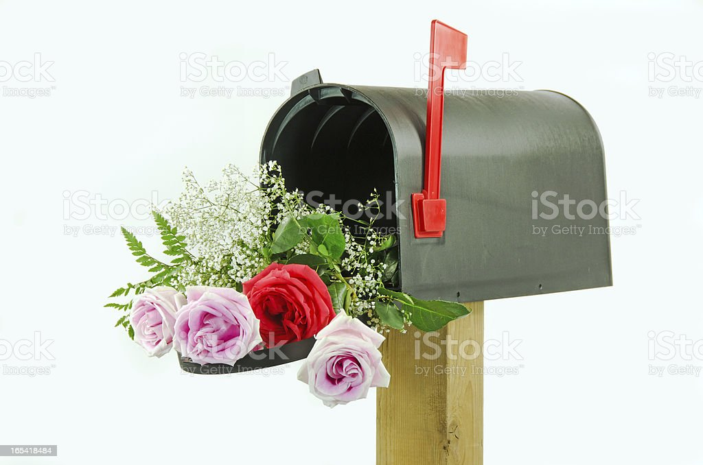 Black Mailbox with Roses royalty-free stock photo