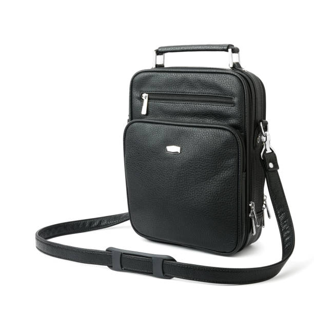 black male bag for accessories, documents and money - waist bag stock photos and pictures