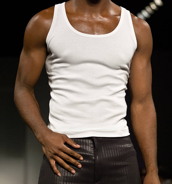 Black male in T shirt stock photo