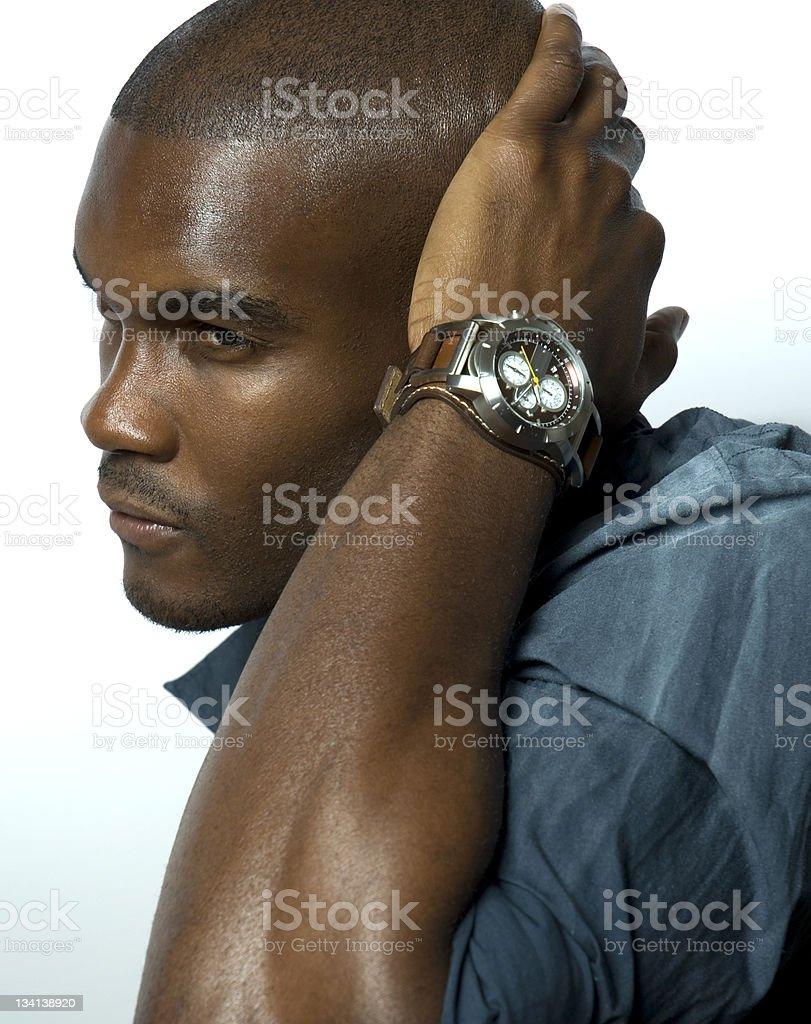 Black Male Model Posing With Designer Wristwatch stock photo