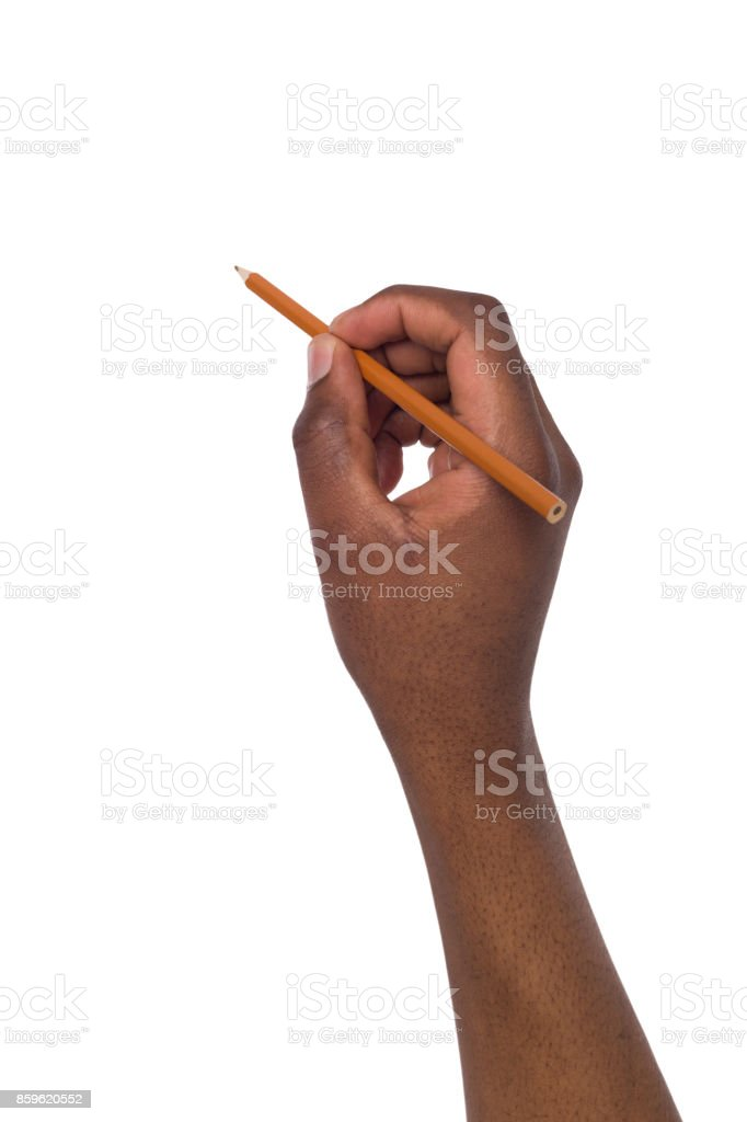 Black man hand holds a pencil. Copy space stock photo